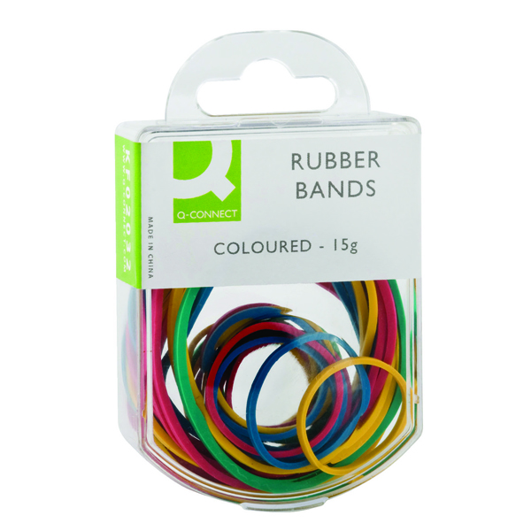 Q-Connect Rubber Bands Assorted Sizes Coloured 15g (Pack of 10) KF02032Q