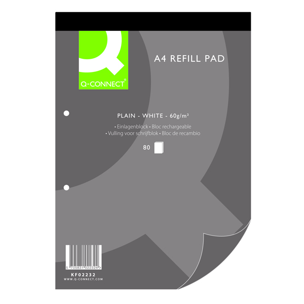 Q-Connect Plain Headbound Refill Pad 160 Pages A4 (Pack of 10) KF02232