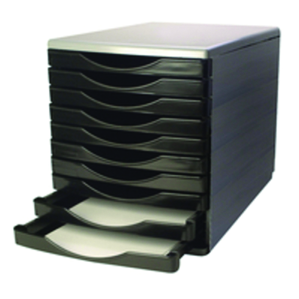 Q-Connect Black and Grey 10 Drawer Tower (Dimensions: L345 x W290 x H340mm) KF02254