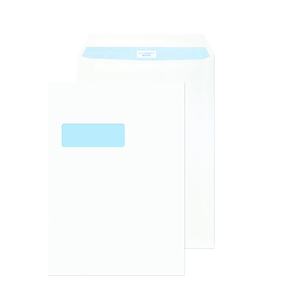 Q-Connect C4 Envelopes Window Peel and Seal 100gsm White (Pack of 250) KF03292