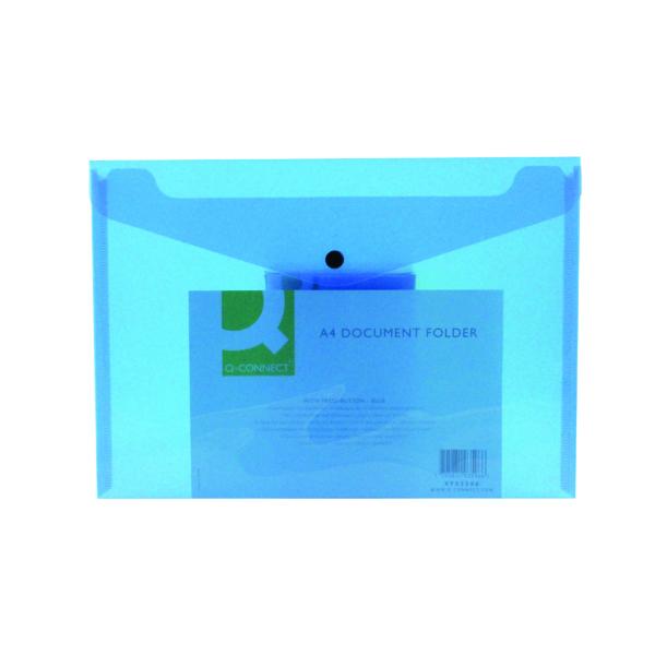 Q-Connect Polypropylene Document Folder A4 Blue (Pack of 12) KF03596