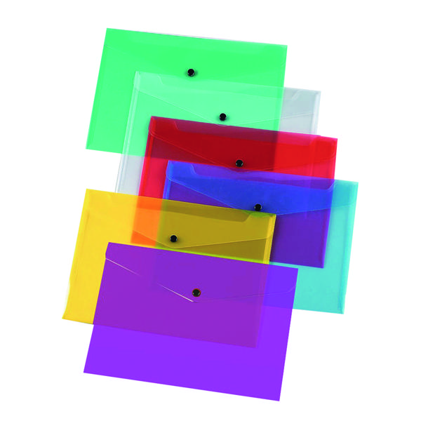 Q-Connect Polypropylene Document Folder A4 Assorted (Pack of 12) KF03599