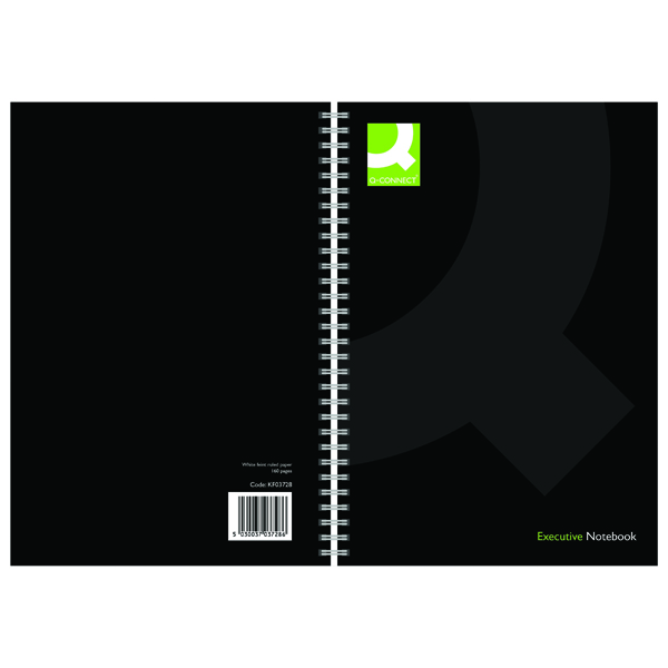 Q-Connect Hardback Wirebound Book A5 Black (Pack of 3) KF03728