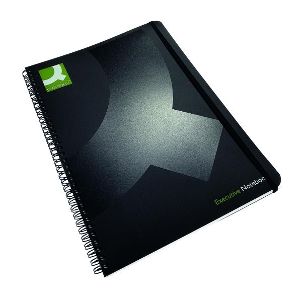 Q-Connect Polypropylene Wirebound Book A4 Black (Pack of 3) KF03729