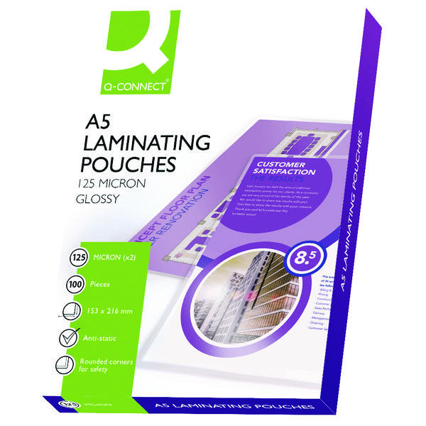 Q-Connect A5 Laminating Pouch 250 Micron (Pack of 100) KF04108