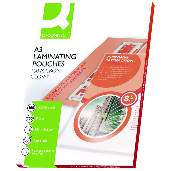 Q-Connect A3 Laminating Pouch 200 Micron (Pack of 100) KF04123