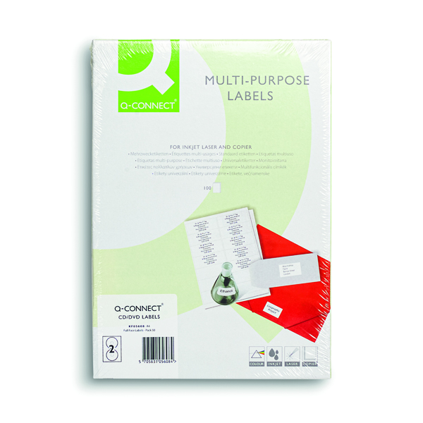 Q-Connect Full Face CD DVD Label 117 dia 2 Per Sheet White (Pack of 100) KF05608