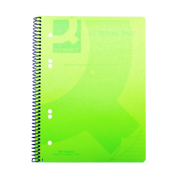 Q-Connect Spiral Bound Polypropylene Notebook 160 Pages A5 Green (Pack of 5) KF10033