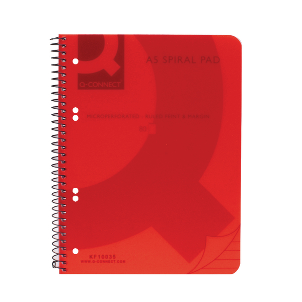 Q-Connect Spiral Bound Polypropylene Notebook 160 Pages A5 Red (Pack of 5) KF10035