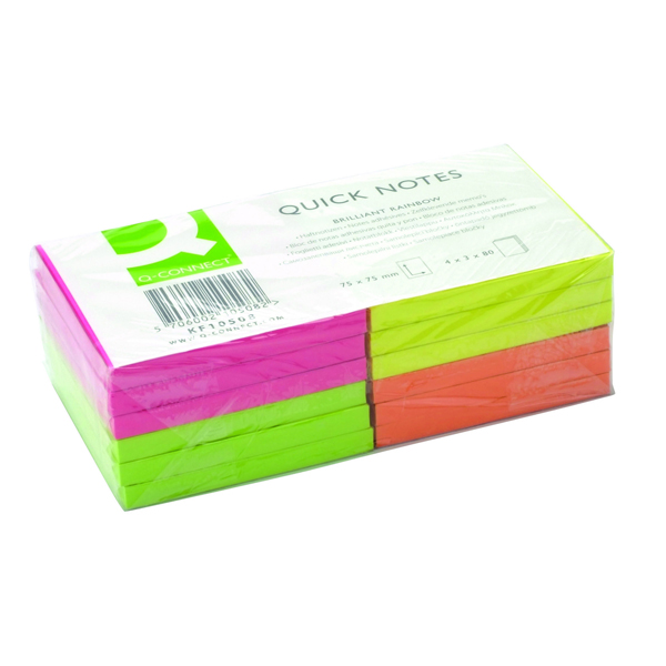 Q-Connect Quick Notes 76 x 76mm Neon (Pack of 12) KF10508