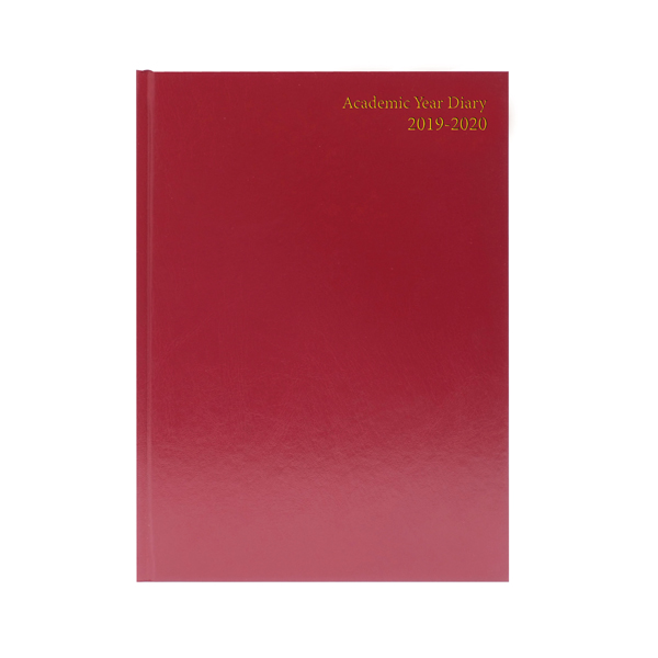 Academic Diary A5 Day Per Page 2019-20 Burgundy KF1A5ABG19