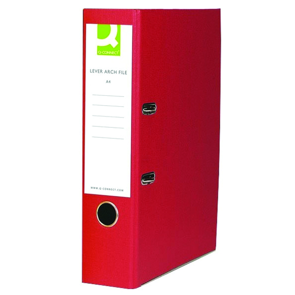 Q-Connect Lever Arch File Paperbacked Foolscap Red (Pack of 10) KF20031