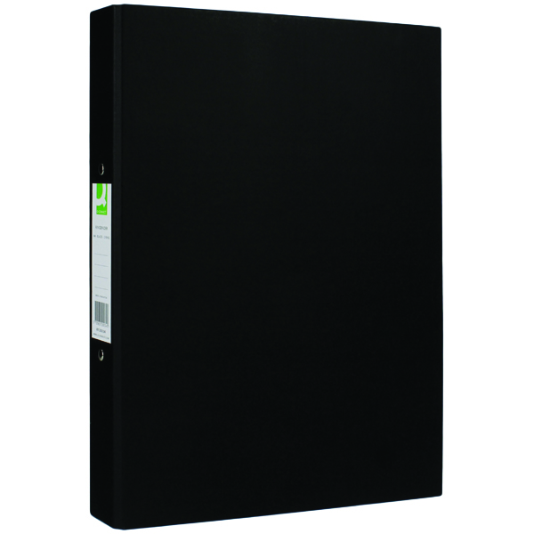 Q-Connect 2 Ring 25mm Paper Over Board Black A4 Binder (Pack of 10) KF20034