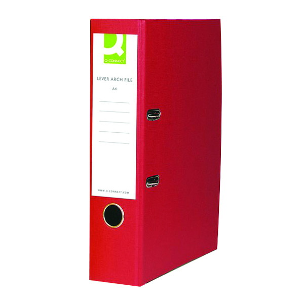 Q-Connect Lever Arch File Paperbacked A4 Red (Pack of 10) KF20041