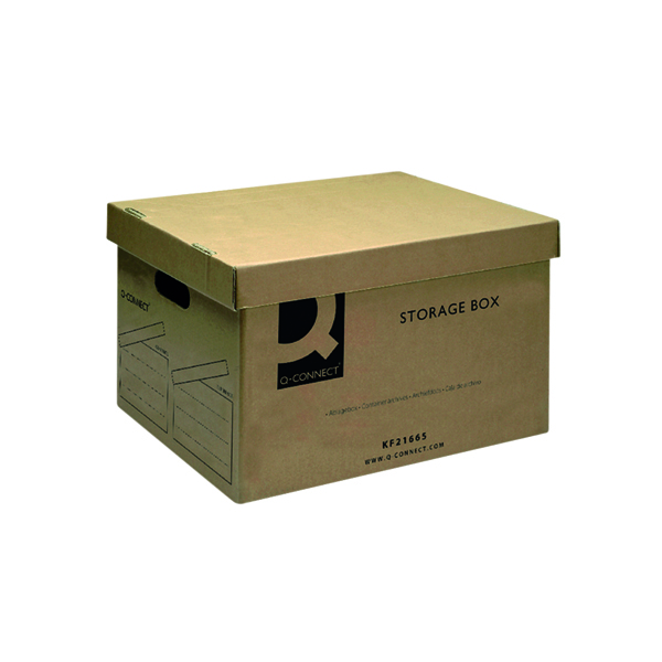 Q-Connect Brown Storage Box 335x400x250mm (Removable lid and cut out handles) KF21665
