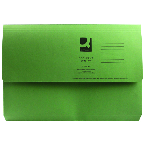 Q-Connect Document Wallet Foolscap Green (Pack of 50) KF23012