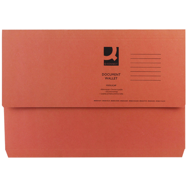 Q-Connect Document Wallet Foolscap Orange (Pack of 50) KF23014