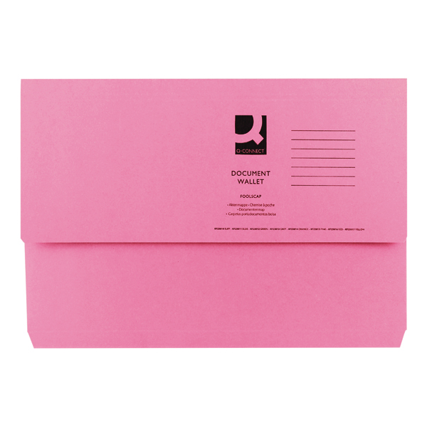 Q-Connect Document Wallet Foolscap Pink (Pack of 50) KF23015