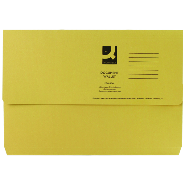 Q-Connect Document Wallet Foolscap Yellow (Pack of 50) KF23017
