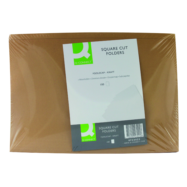 Q-Connect Kraft Square Cut Folder 170gsm Foolscap Buff (Pack of 100) KF23025