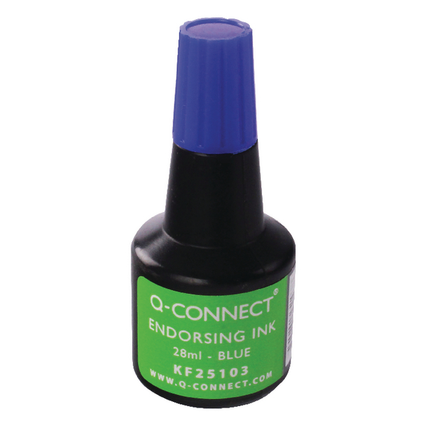 Q-Connect Endorsing Ink 28ml Blue (Pack of 10) KF25103Q