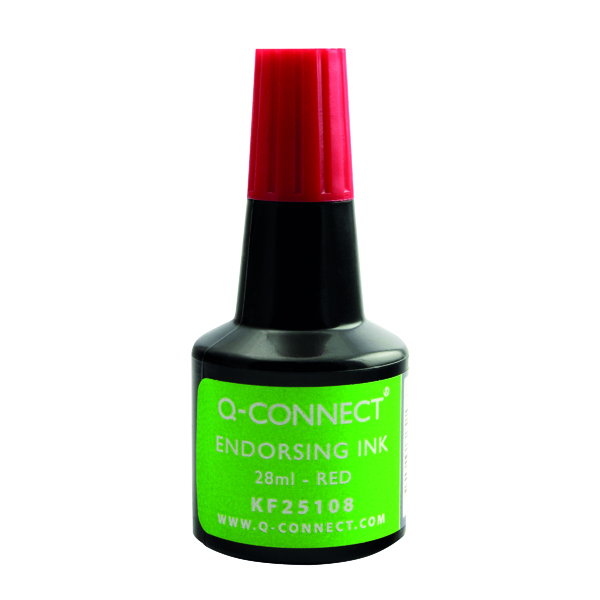 Q-Connect Endorsing Ink 28ml Red (Pack of 10) KF25108Q