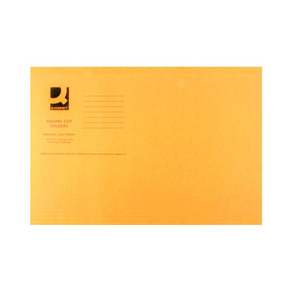 Q-Connect Square Cut Folder Lightweight 180gsm Foolscap Orange (Pack of 100) KF26030