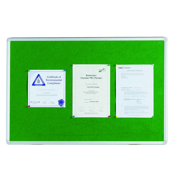 Q-Connect Aluminium Frame Felt Noticeboard 1200x900mm Green 54034204