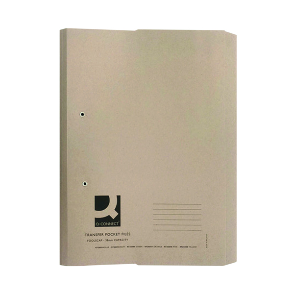 Q-Connect Transfer Pocket 35mm Capacity Foolscap File Buff (Pack of 25) KF26095