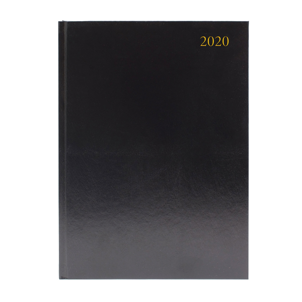 Desk Diary A4 2 Pages Per Day 2020 Black KF2A4BK20
