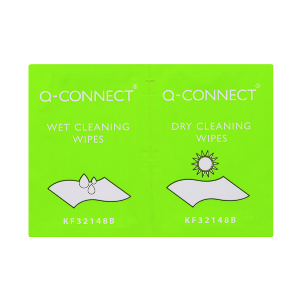 20 x Q-Connect Wet and Dry Wipes (Wet wipes for cleaning and dry wipes for polishing) KF32148