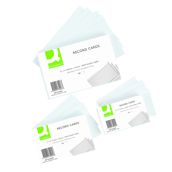 Q-Connect Record Card 203x127mm Ruled Feint White (Pack of 100) KF35206