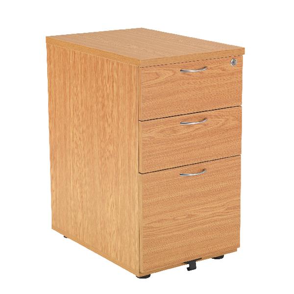 Jemini Oak 800mm 3 Drawer Desk High Pedestal KF72073