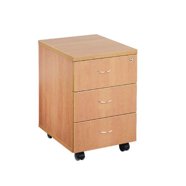 Jemini Beech 3 Drawer Mobile Pedestal KF72084
