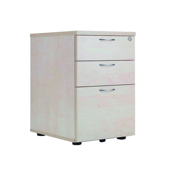 Jemini Maple 3 Drawer Under Desk Pedestal (Dimensions: W434 x D580 x H690mm) KF72089