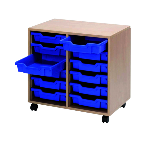 Jemini Mobile Storage Unit 12 Tray Beech (Dimensions: W710 x D495 x H650MM) KF72339