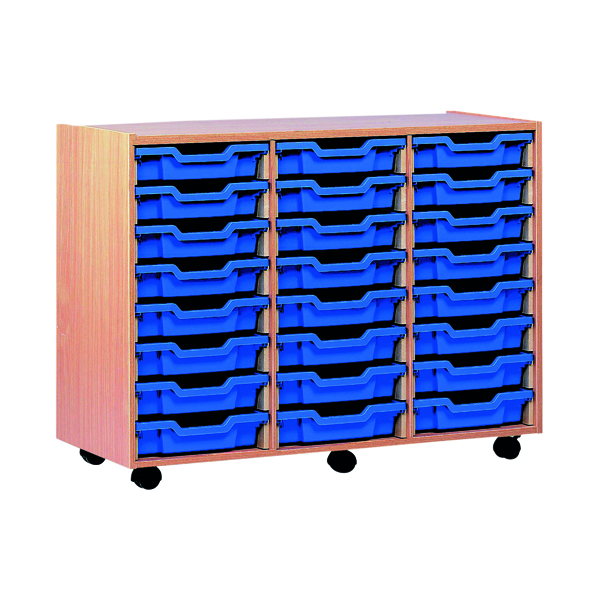Jemini Mobile Storage Unit 24 Tray Beech (Dimensions: W870 x D495 x H650mm) KF72568