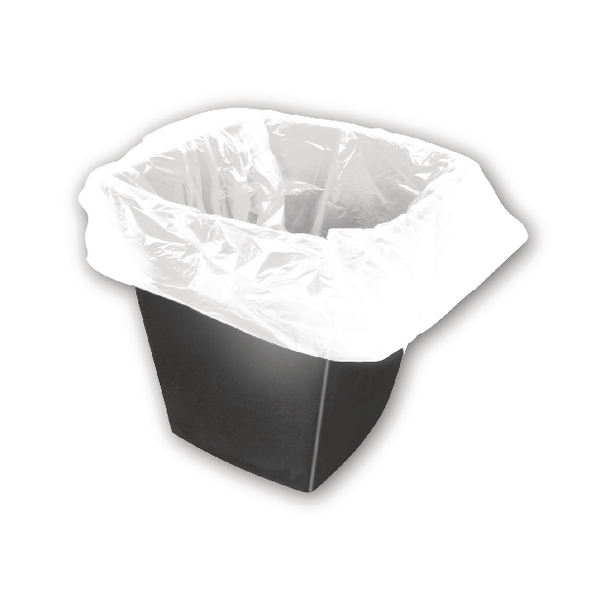 2Work Square Bin Liners 30 Litre White (Pack of 1000) KF73380