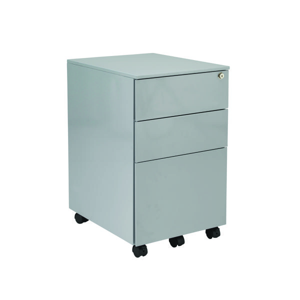 Jemini Silver Mobile Steel 3 Drawer Pedestal KF74155