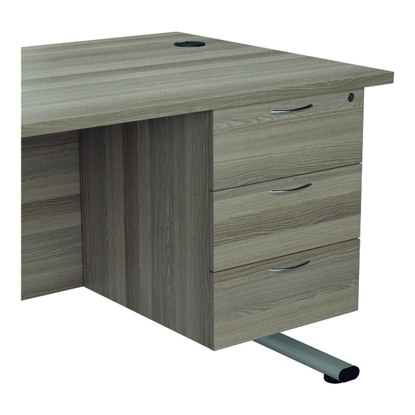 Jemini 655 Fixed Pedestal 3 Drawer Grey Oak KF74419