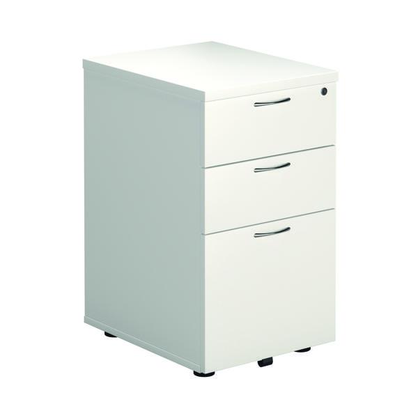 First Tall Under Desk Pedestal 3 Drawer White KF74835