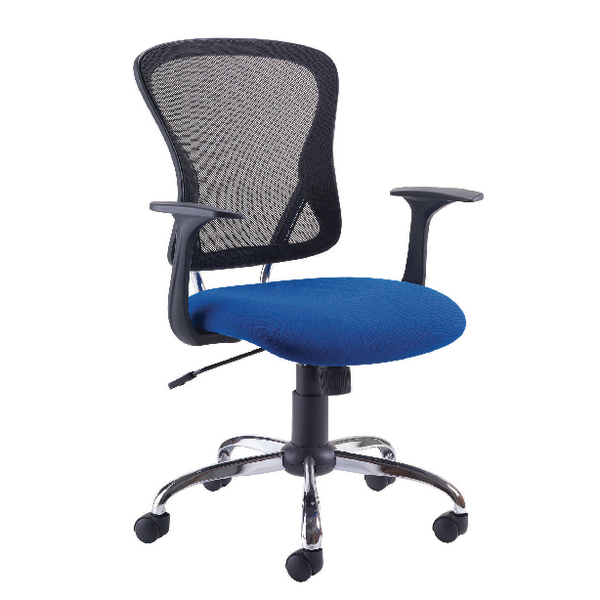 First Contemporary Mesh Chair Blue Black (Lock tilt mechanism, seat height and angle) KF74845
