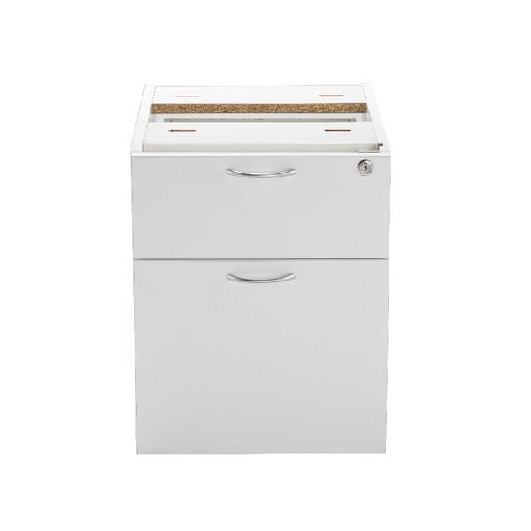 Jemini White 2 Drawer Fixed Pedestal KF78662