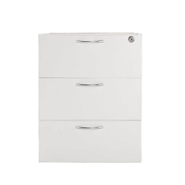Jemini White 3 Drawer Fixed Pedestal KF78663
