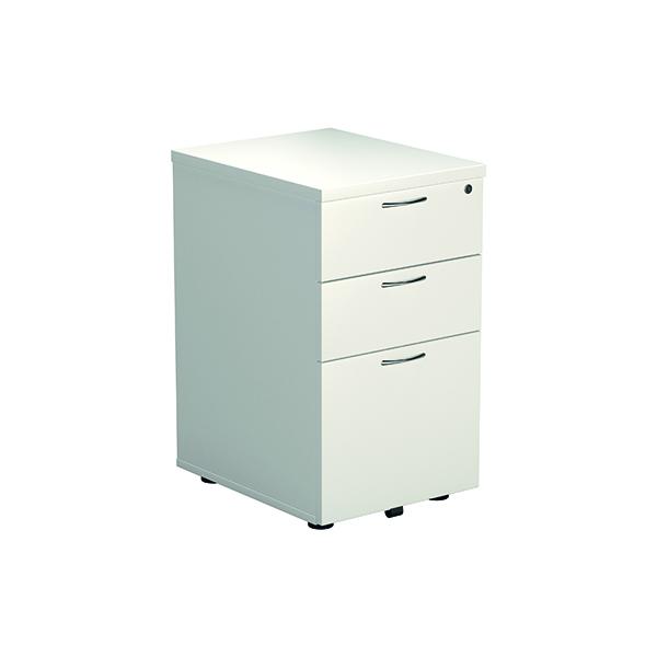 Jemini White 3 Drawer Under-Desk Pedestal (Dimensions: W434 x D580 x H595mm) KF78664
