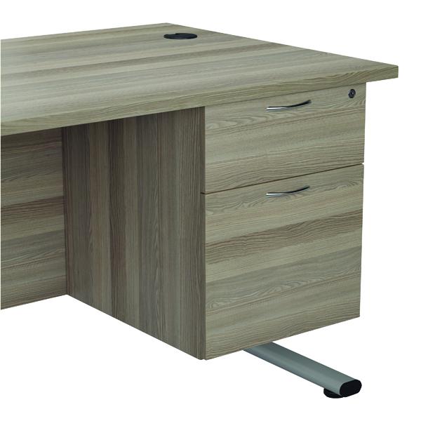 Jemini Grey Oak 2 Drawer Fixed Pedestal (Dimensions: W400 x D600 x H730mm) KF78939