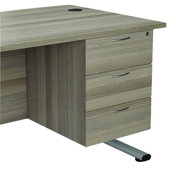 Jemini Grey Oak 3 Drawer Fixed Pedestal (Dimensions: W400 x D600 x H730mm) KF78941