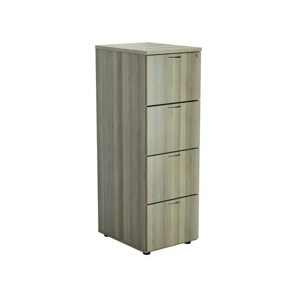 Jemini Grey Oak 4 Drawer Filing Cabinet (Dimensions: W465 x D600 x H1365mm) KF78955