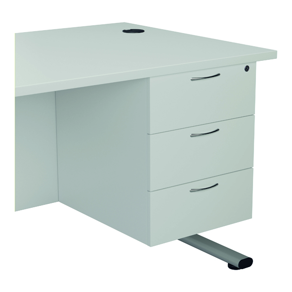 FF Jemini White 3 Drawer Fixed Pedestal TESHP3WH