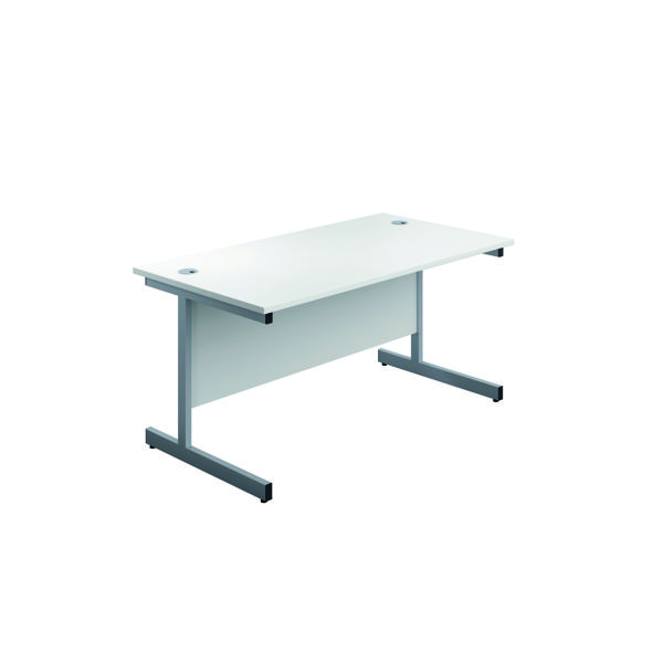 Jemini Single Rectangular Desk 1200x600mm White/Silver KF800431